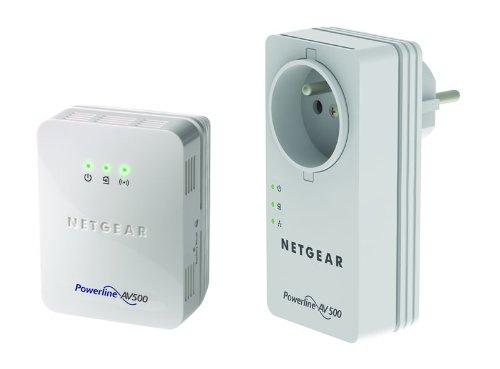 Netgear XWNB5602-100FRS Pack de 2 CPL 500 Mbp Prise Femelle, 1 Port Réseau 10/100