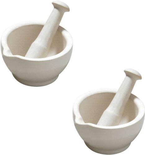 Set Of 2 White Stoneware Pestle & Mortar
