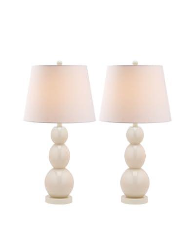 Safavieh Set of 2 Jayne Three Sphere Glass Lamps, Light Grey