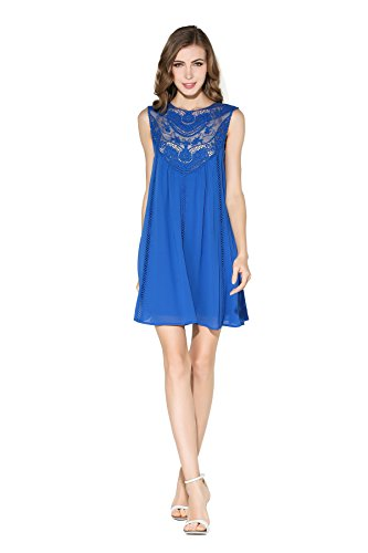 Little Smily Women's Casual Loose Lace Splicing Chiffon Mini Babydoll Flared Dress, Royal Blue, XL