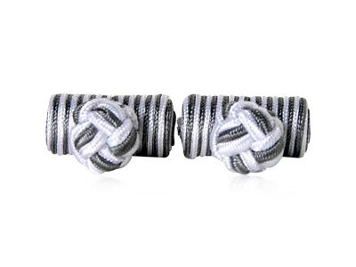 Classic Silver & Gray Silk Knot Log Cufflinks With Velour Pouch by Cuff-Daddy