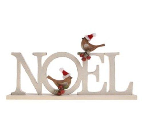 """Scritta """"Noel"""" in stile shabby chic con scritta, motivo: pettirossi, [lingua francese]"""