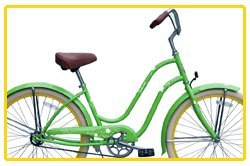 Steel Frame, Micargi Sakura 1-speed (Green/yellow) Women's 26