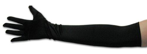 "22"" Classic Adult Size Long Opera Length Satin Gloves Black"