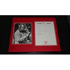 Dave McClain Signed Framed 16x20 Typed 1986 Letter & Photo Display Wisconsin -...