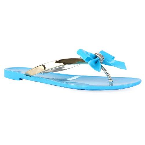78Y Womens Flat Jelly Diamante Ladies Bow Flip Flop Sandal Shoes