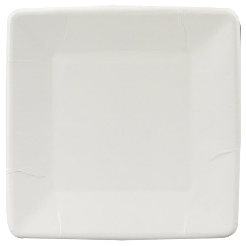 Paper Plate Square 7 Inches White Package of 18 - 1