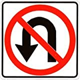 Metal traffic Sign: No U Turn (with symbol)