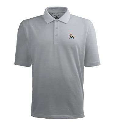 MLB Men's Miami Marlins Pique Xtra Lite Desert Dry Polo
