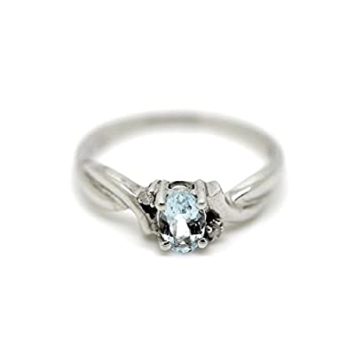 Oval Aquamarine 0.61 Carat March Birthstone & Diamonds Ring in Sterling Silver