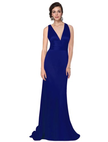 HE09008SB14, Sapphire Blue, 14UK, Ever Pretty Trailing V-neck Ruffles Cross Back Empire Waist Bridesmaid Party Christmas Dress 09008