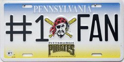 Pittsburgh Pirates # 1 Pirate Fan License Plate