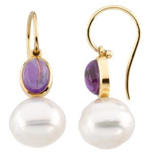 14k Gold S. Sea Cult. Pearl Amethyst Earring 7x5mm 11mm - JewelryWeb