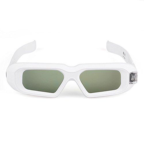 SainSonic Zebra 10M 144Hz 3D Active Shutter Glasses Rechargeable IR 3D Glasses for SamSung Vizio Acer ViewSonic BenQ Vivitek Optoma Infrared 3D DLP-Link Ready Projector, HDTV, White