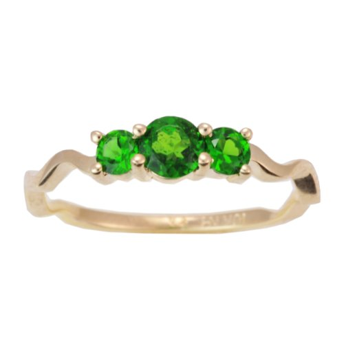 10K Yellow Gold Chrome Diopside Exotic Gemstone Trinity Curve Ring, Size 7