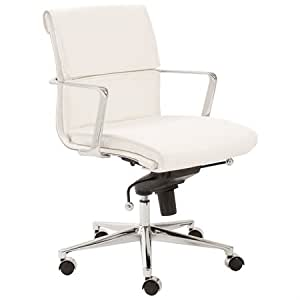 Leif Low Back Office Chair Segmented Cushion White By Euro Style