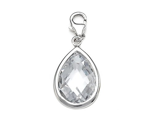 April Simulated Birthstone Pear Shape Charm for Charm Braclelet or Smartphone using our Smartphone Plug Adaptor in 925 Sterling Silver