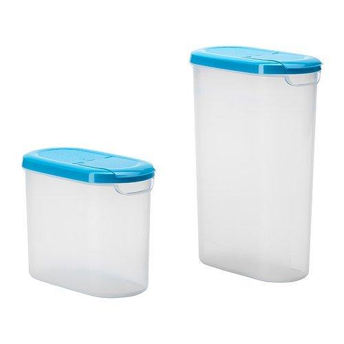 IKEA(イケア) JAMKA 乾燥食品用容器 ふた付き 2個セット, 透明ホワイト, ブルー (60295612) 2セット