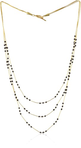 Gold Silk Black and Crystal 3 Strand Necklace