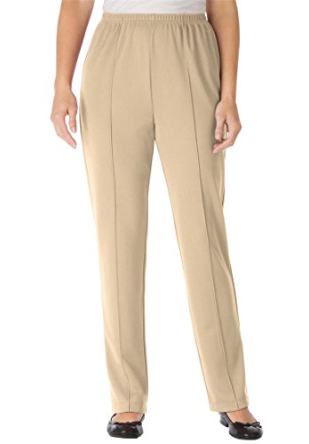 Only Necessities Women's Plus Size Tall Pants In Wrinkle & Stain-Resistant Knit