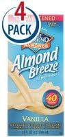 Blue Diamond Natural Almond Breeze Almond Milk Vanilla - 32 fl oz Each  Pack of 4