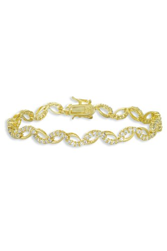 Natalie's 925 Sterling Silver Wavy Bracelet Gold Plated Round CZ w/ 2 Prong Set & Box Clasp - Incl. ClassicDiamondHouse Free Gift Box & Cleaning Cloth