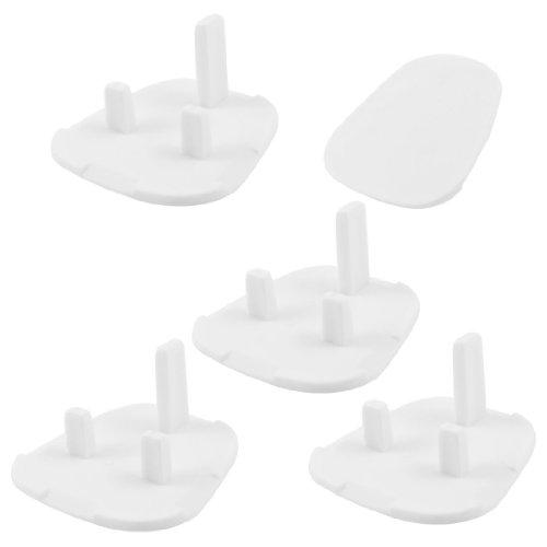 Home White Plastic 3 Flat Pin Safety Socket Covers Cap 5 Pcs