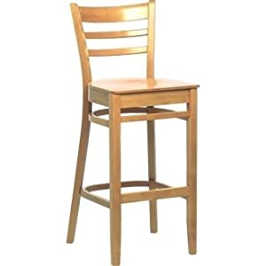 Kitchen Breakfast Bar Chairs Wooden Beech Dining High Stool Natural Finish Pack 2