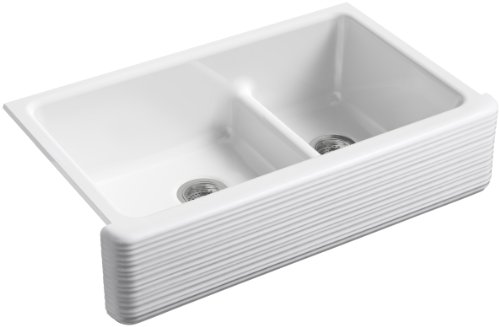 KOHLER K-6349-0 Whitehaven Hayridge Under Mount Large/Medium Double-Bowl Kitchen Sink with Tall Apron, White