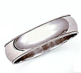 Ladies 5MM 14kt white gold milgrain wedding band