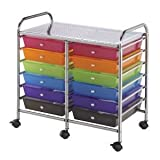 Blue Hills Studio Double-Wide Storage Cart w/12 Drawers: Multi-Color