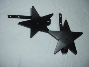 Curtain Tiebacks-Stars! Pair--Amish Made Wrought Iron
