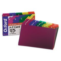 * Card Guides, Alpha, 1/5 Tab, Polypropylene, 5 x 8, 25/Set * card guides alpha 1 5 tab polypropylene 5 x 8 25 set