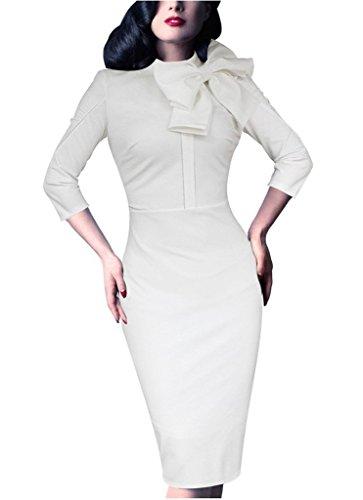 Donsane Women's Celebrity Vintage Bowknot Party Cocktail Stretch Bodycon Pencil Dress (XL, White)