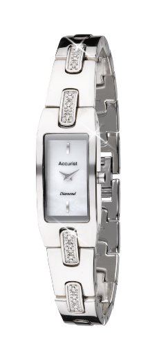 Accurist Women's Quartz Watch with White Dial Analogue Display and Silver Bracelet LB1462P