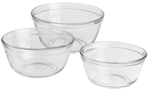 Anchor Hocking 3-Piece Mixing Bowl Set, Clear