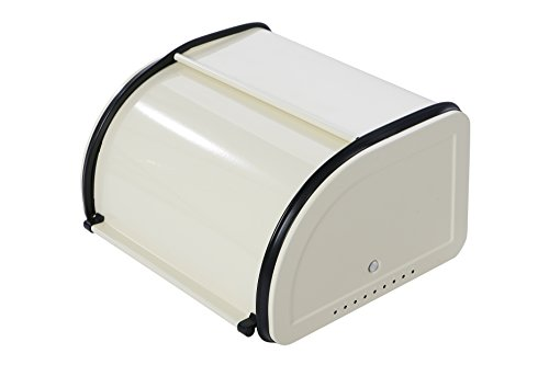 Roll Top Bread Box For Kitchen - Bread Bin Storage Container For Loaves, Pastries, and More 9.75 x 7.75 x 5.25 Inches, Ivory by Juvale (Bread Enamel compare prices)