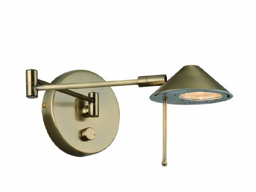 Lite Source LS-16350AB Rhine Halogen Wall Lamp, Antique Brass
