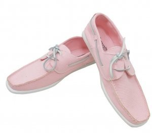 Ex-Chainstore Mens Pink Boater Shoes (Size 11 Only)