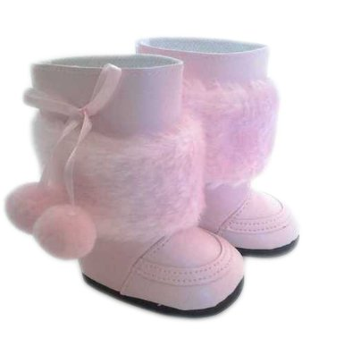 Pink Pom Boots for American Girl Dolls and Bitty Twin Dolls