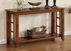 Cheap Console Sofa Table Mission Style in Brown Oak Finish (VF_F6214)
