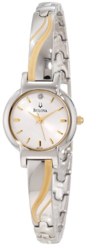 BULOVA 98P132 LADIES STAINLESS STEEL CASE MINERAL WATCH