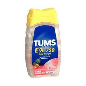 Tums E-X 750 Antacid/Calcium Chewable Tablet, Assorted Fruit Flavor