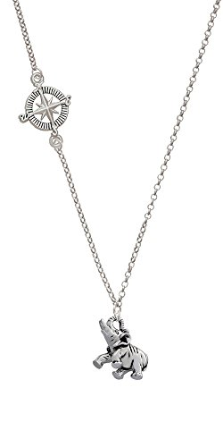 Elephant Delicate Compass Necklace