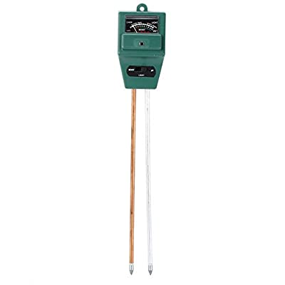 Flexzion Soil Moisture Sensor Meter Light pH Acidity Tester 3in1 Gardening Hydroponic Tool Analyzer for Outdoor Indoor Plant Flowers Fruits Vegetables Shrubs Grass Lawns