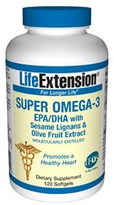 Life Extension - Super Omega-3 EPA/DHA W/Sesame Lignans & Olive Fruit Extract 120 Softgels