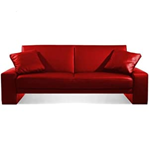 NEW 2 SEATER RED LUXURY FAUX LEATHER SOFA BED Amazon Kitchen & Home