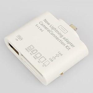 V-Pro 8-Pin Lightning 5 en 1 USB Camera Connection Kit SD TF lecteur de mini-iPad adaptateur ou de la rétine