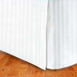 Super Soft Stripe White Queen Size Bed Skirt 100% Cotton