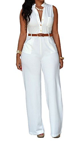 Roswear Women's Sexy Plunge V Neck Belted Wide Leg Jumpsuits Dress White Small